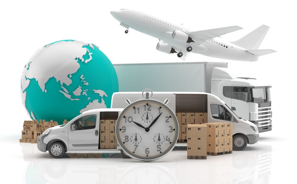 international-couriers-delivery-van-plane-mail-globe