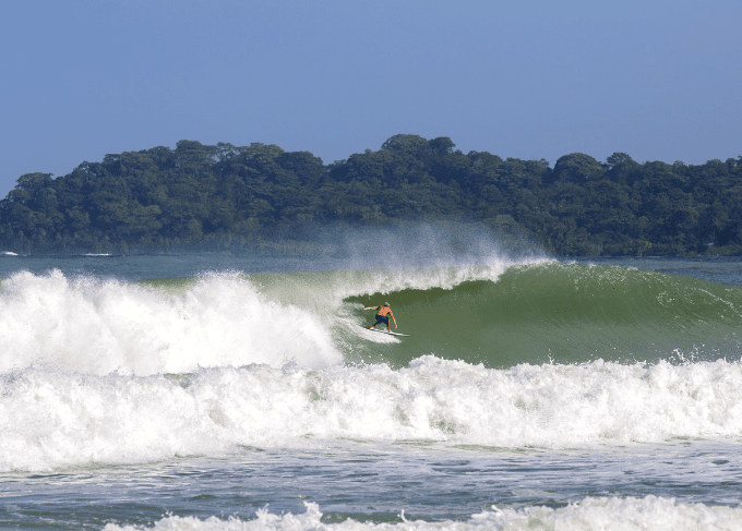 Surfing at one of the famous Azuero beaches
