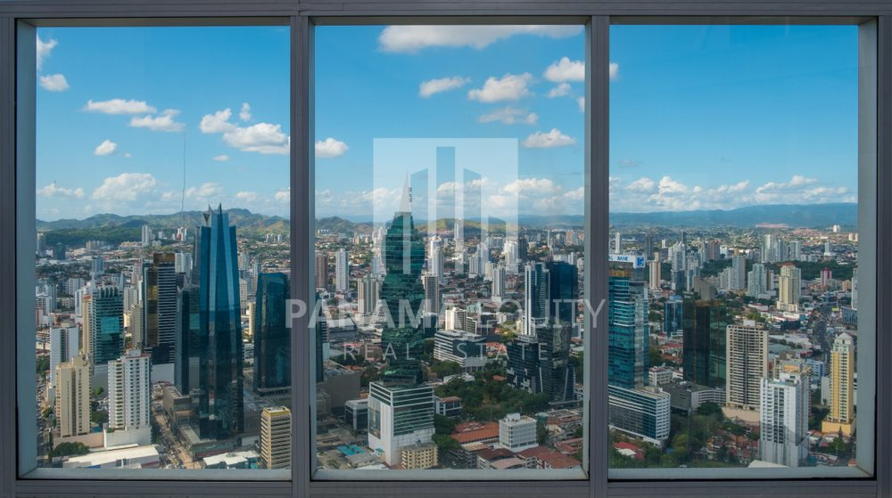 view through window of panama city from apartment