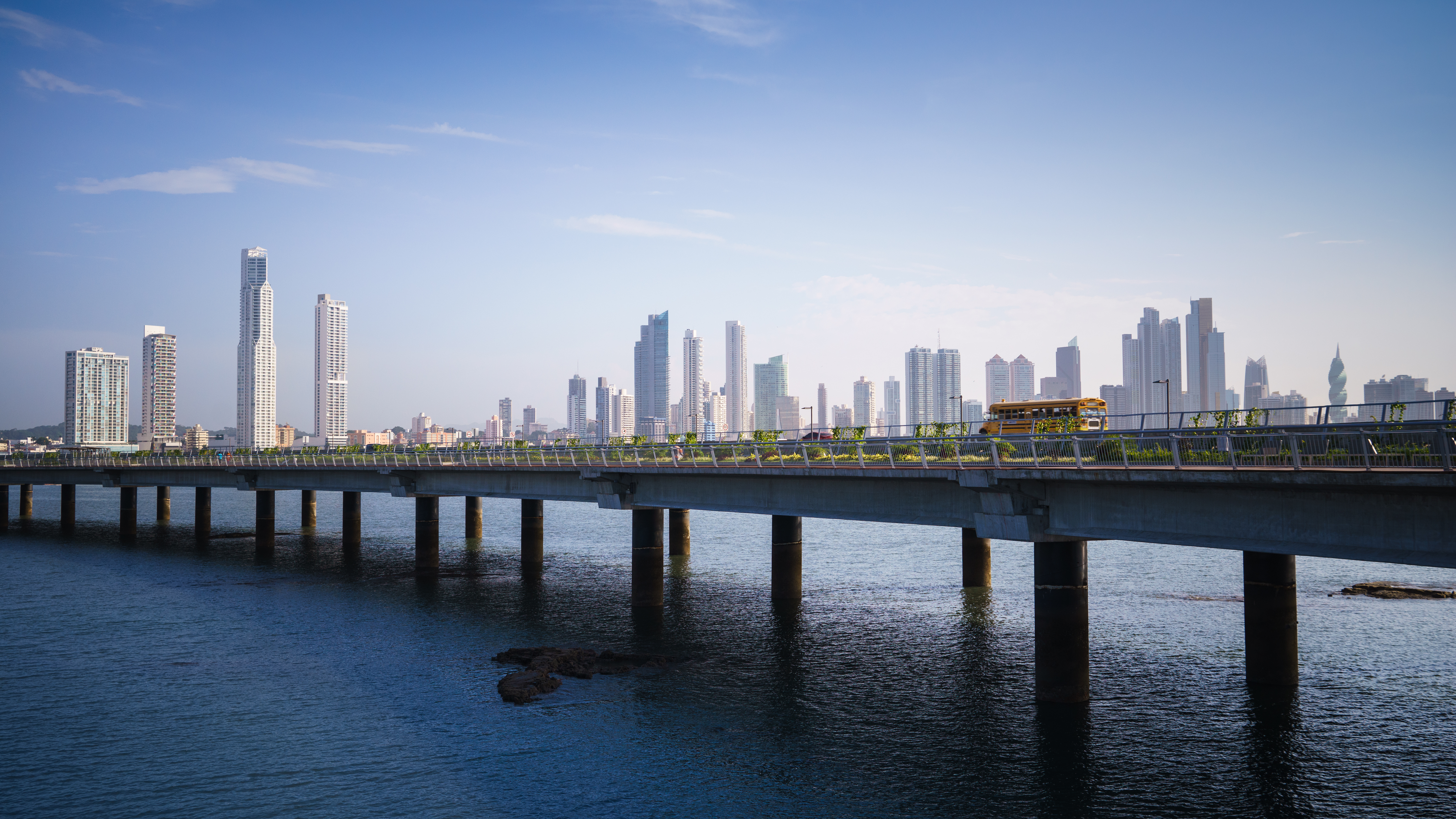Panoramic view of Panama City skyline and highway - panama vs belize