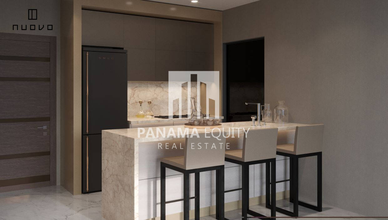 Nuovo Panama features a number of floorplans to choose from including 1, 2, and 3 bedroom layouts along with several larger penthouse apartments to choose from. All apartments in Nuovo feature 10 foot ceilings, Italian doors, floor to ceiling double paned windows, and EPS rated, soundproof walls. Floors are marble, and closets and cabinets are all italian imported. Baths in Nuvovo feature Rain shower heads, luxury tiling, his and her lavatories and custom designed furniture and fixtures. Kitchens in Nuovo will be installed with Vigo brand fixtures along with all stainless steel finishings.